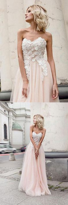 Beautiful Prom Dress,Sweetheart prom dress,Tulle prom dress,Pearl Pink Prom Gown,Appliques prom dress,A-Line prom dress #beautiful #prom #pink #lace #tulle #long