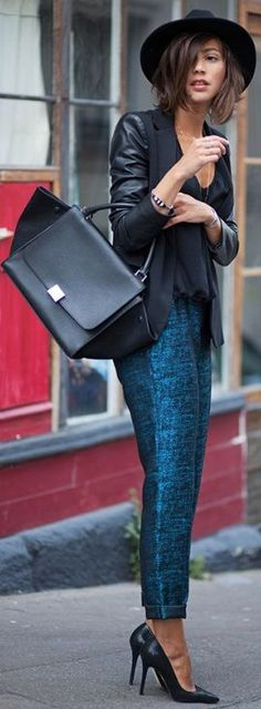 Metallic Teal Graphic Trousers