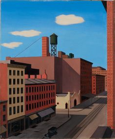 """Hudson Street,"" George C. Ault, 1932, oil on canvas, 24 × 20"", Whitney Museum of American Art."