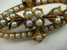 ANTIQUE PEARL BROOCH 5.7 GRAMS 37 MM LONG 14K YELLOW GOLD, $500