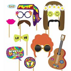 Photo Booth Hippie Party Photo Accessories for Party Photo Box - - Hippie Party, Hippie Birthday Party, 70th Birthday Parties, Fiesta Flower Power, Flower Power 60s, 60s Party Themes, 60s Theme, Disco Party, Prom Party
