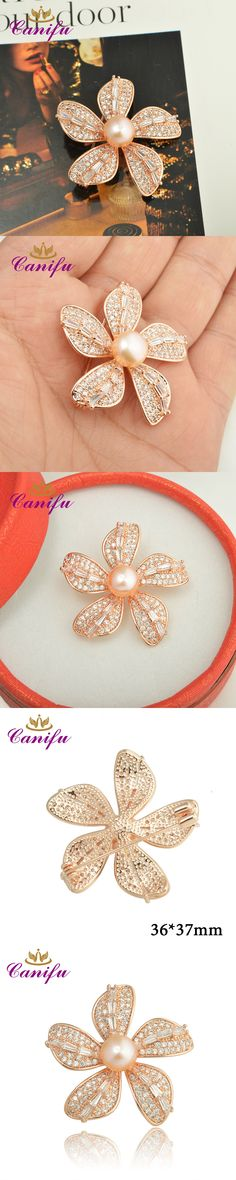 Canifu Fashion Full  Rhinestone Rose Gold Color Five leaf  Flowers  shape Luxury Pearl wedding brooches pin gifts for women