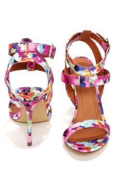 Rosita 3 Fuchsia Multi Ankle Strap Dress Sandals