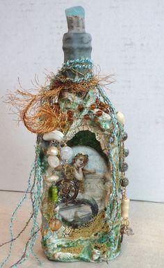 Sea Foam Aqua Vintage Mermaid Altered Bottle by CharminglySoulful, $75.00