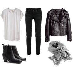 white tee, black pants, black boots, gray scarf...