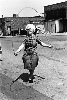 older woman jumping rope. I hope to be this energetic tomorrow...let alone years from now.