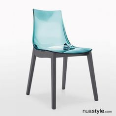 Led W Chair by Connubia Calligaris - Aqua Seat with Graphite Legs