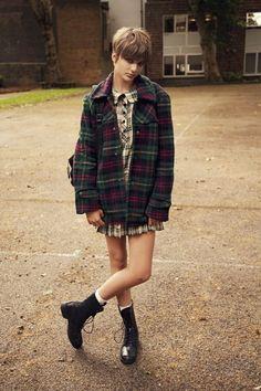 http://www.trendzystreet.com/ - Plaid   Tartan jacket and short dress   Ankle boots
