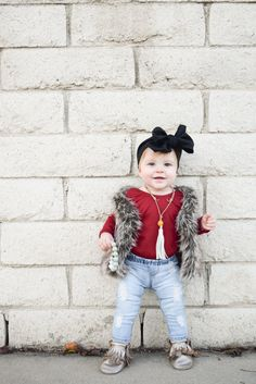 Baby Fashion - Baby Fur Vest   Baby Ripped Jeans
