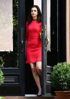 Anne Hathaway filming a scene on the set of 'The Intern' in New York City, New York on September 4, 2014