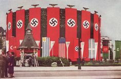 Berlin adorned with countless national symbols as part of a striking display of the New Germany to be seen by the international community in attendance at the then ongoing 1936 Olympics in Berlin.
