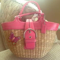 Authentic Coach Straw Pink Leather Basket Bag Beautiful Authentic Coach Straw Pink Leather Basket Bag. Great condition. Limited edition. Rare. Coach Bags Hobos