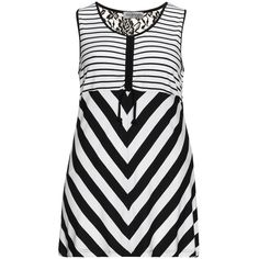 seeyou Black / White Plus Size Monochrome lace paneled jersey tank ($62) ❤ liked on Polyvore featuring tops, black, plus size, striped tank, plus size white tank top, floral tank, plus size tanks and striped tank top