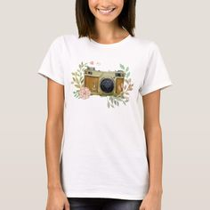 Shop Hand Painted Vintage Camera T-Shirt created by MoverWearCrafts. White T, White Shop, T Shirt Painting, Cooler Painting, New Look Women, Hippie Outfits, Sorority Canvas, Sorority Paddles, Sorority Crafts
