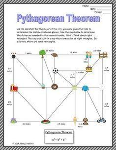 Pythagorean Theorem by Math in Demand Math 8, 7th Grade Math, Math Teacher, Math Classroom, Fun Math, Math Worksheets, Math Resources, Math Activities, Teaching Geometry