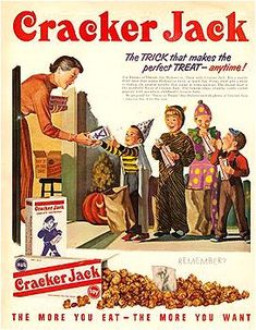 'The Trick that makes the perfect treat - anytime!' ~ 1950s Cracker Jack vintage Halloween ad.