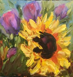 A personal favorite from my Etsy shop https://www.etsy.com/listing/520201162/sunflower-and-tulips-original-oil