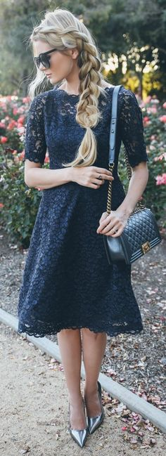 Black Lace Midi Dress by Barefoot Blonde....  •}...love her hair