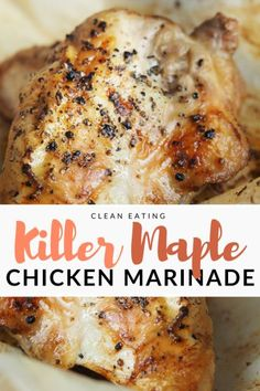 A traditional, asian inspired, killer maple chicken marinade recipe with the new taste of bourbon barrel aged maple syrup. Old Chicken Recipe, Chicken Marinade Recipes, Chicken Marinades, Meat Recipes, Grilling Chicken, Whole30 Recipes, Marinated Chicken, Bbq Grill, Maple Syrup Chicken