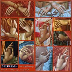 Gridesign-Iconography Religious Images, Religious Icons, Religious Art, Byzantine Icons, Byzantine Art, Painting Process, Painting Lessons, Paint Icon, Religious Paintings