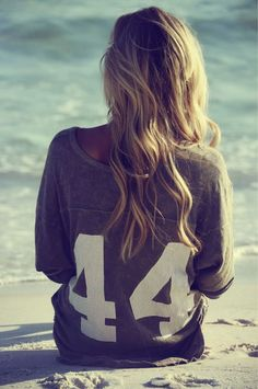 beach hair and jersey top