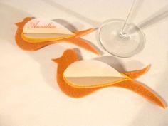 Dekoration - Tischkarten aus Filz * Vogel orange-gelb - ein Designerstück von Ute-Raschke bei DaWanda