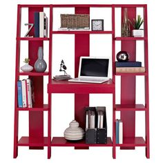 This versatile etagere features multiple shelves and a pull-out desk. Set it in your living room for space-saving style, or use it to create a chic home offi...