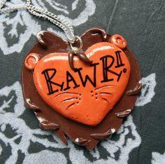 Rawr  large lion head heart shaped pendant by FionaBirdCreations, £7.00