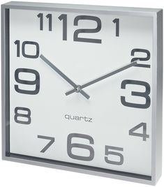 Bernhard Products - Large Wall Clock, 11 Inch Modern Large Square Elegant Wall Clock- Quality Quartz, Battery Operated- Silver/Matte Gray, Decorative Home Clock