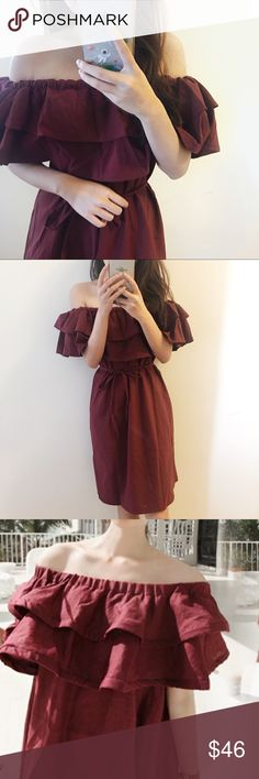 Boutique-Burgundy off shoulder dress Brand new. Beautiful burgundy color. Perfect dress for the summer. Beach, shopping, clubbing, picnic. A versatile and chic dress. Size fits smaller. Size S (tagged M) and Size M (tagged as L) For Love and Lemons Dresses