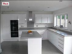 Dove grey Corian on gloss white White Gloss Kitchen, Barn Living, New Kitchen, Kitchen Ideas, Corian, Dove Grey, Home Kitchens, Kitchen Cabinets, Random Stuff
