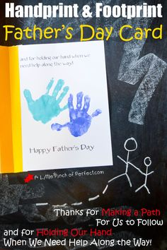 Handprint and Footprint Father's Day Card: Thanks for Holding My Hand | A Little Pinch of Perfect