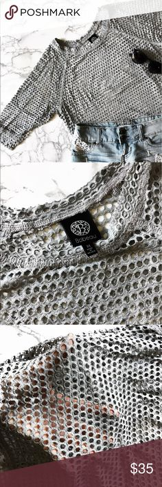 Gray Mesh Crop Top Gray mesh top, size Medium. Used but has no flaws. Bobeau brand. bobeau Tops Crop Tops