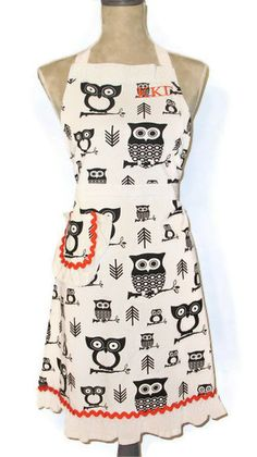 KKG Apron - Hootie and the Big Owls - Orange Accents - $40.00, via Etsy.