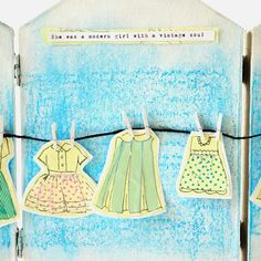 Enjoy summer all year long with a miniature indoor clothesline. Click the pic for this DIY project! Do It Yourself Crafts, Crafts To Make, Paper Art, Paper Crafts, Vintage Soul, Artist Trading Cards, Fun Projects, Paper Dolls, Enjoy Summer