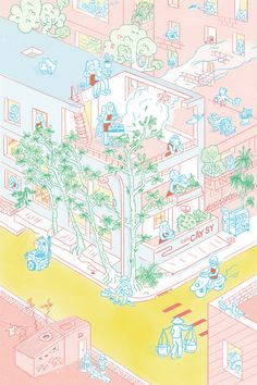 Cay Sy House on Behance Architecture Concept Diagram, Architecture Collage, Architecture Graphics, Architecture Drawings, Architecture Portfolio, Architecture Design, Graphic Design Illustration, Digital Illustration, Posca Marker
