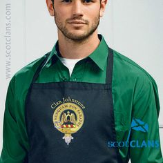 Cotton apron with Johnstone embroidered Clan Crest