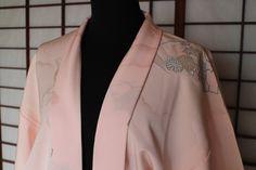 Silk Haori, Haori Jacket, Vintage Japanese Kimono Jacket, Peachy Pink Haori, Japanese Clothing, Silk Jacket, Free Air Mail Shipping by KominkaFabricsJapan on Etsy