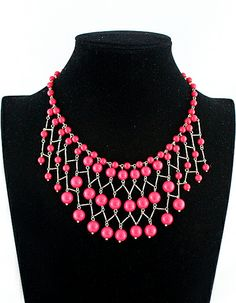 #SheInside New Vogue Jewelry Red Bead Necklace