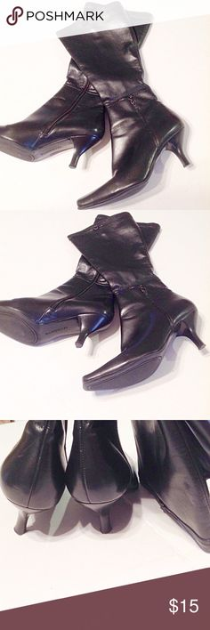 "Lauren Lorraine Boots Worn but in good condition black leather boots.  Has side zippers.  3"" heel.  Calf 16"" around. Size 7 1/2 medium. Lauren Lorraine Shoes Ankle Boots & Booties"