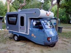 Three wheeler. --Personally I don't see how a three wheeled camper such as this would be an appealing option, but this is a collection of eclectic campers...so there it is.