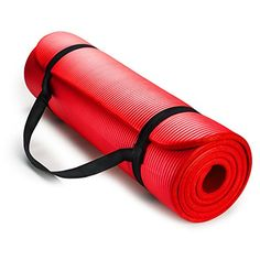 HemingWeigh 12Inch Extra Thick High Density Exercise Yoga Mat with Carrying Strap Red ** Find out more about the great product at the image link. (Note:Amazon affiliate link)