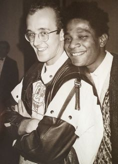 Street artists - Keith Haring & Jean-Michel Basquiat photo by Andy Warhol