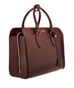 Alexander McQueen Burgundy Heroine Open Leather Tote Bag