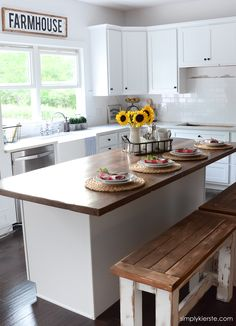 Take a sneak peek into our farmhouse kitchen! It's almost completed--just a few…