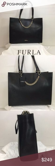 """Furla-Maggie-Black-Onyx-Leather-Tote-Shoulder-Bag Gaurenteed 100% Authentic. Like New  Dust cover included. MSRP $499.00 H- 11.5"""" L- 14.5"""" D- 3"""" Strap Drop- 8.5"""" Bag has 2 open interior pockets, 1 interior zippered pocket. Black with goldtone hardware See Pictures and Item Specifics for more details. Please email any questions. Furla Bags"""
