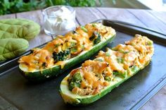 Broccoli Chicken Zucchini Boats- Keto