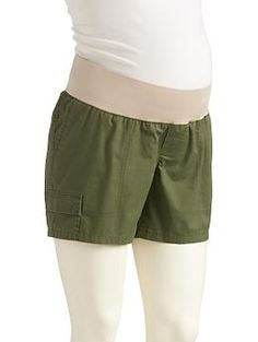 """Maternity Low-Panel Twill Utility Shorts (5"""")   Old Navy"""