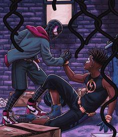 Black Cartoon Characters, Comic Book Characters, Comic Character, Dc Comics Superheroes, Marvel Dc Comics, Anime Comics, Dope Cartoon Art, Dope Cartoons, Miles Morales