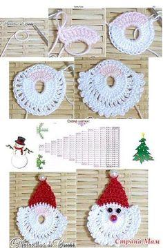 Trendy Ideas For Crochet Christmas Santa Papa Noel Crochet Santa, Christmas Crochet Patterns, Crochet Christmas Ornaments, Crochet Snowflakes, Holiday Crochet, Christmas Knitting, Santa Ornaments, Crochet Motif, Crochet Designs